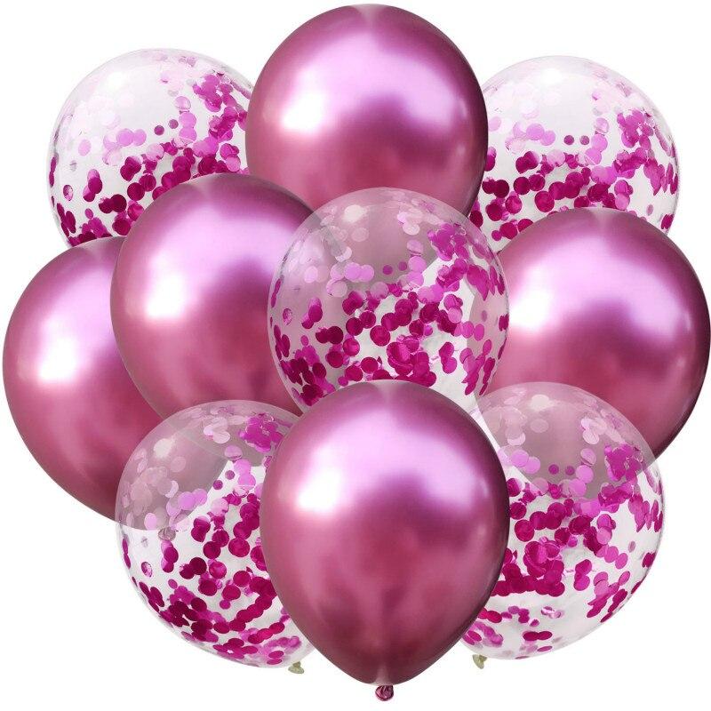 10 шт./лот, 12 дюймов, 5 шт., металлический цвет+ 5 шт., конфетти, латексные шары, для детей, для дня рождения, украшения, шары, мультяшная шляпа, игрушка - Цвет: red