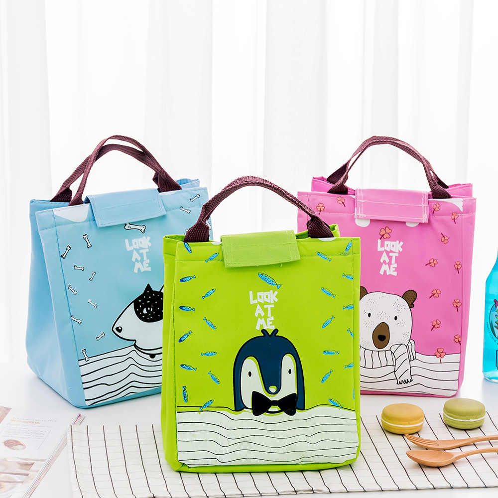 BONAMIE Portable Cartoon Lunch Bag Cute Tote Insulated Thermal Box Kids Animal Pack Beach Food Picnic Pouch Women Boy Cooler Bag