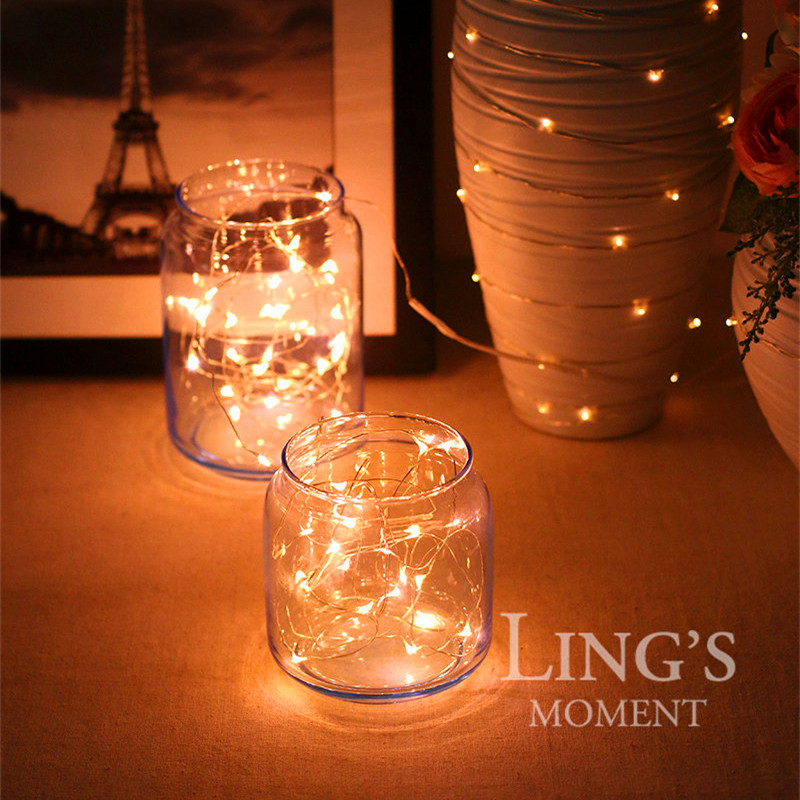 String Lights 5 Sets Of 20 Leds Super Bright Wire Rope Battery Operated Ultra Thin Copper Bedroom Party Tree In Holiday Lighting From