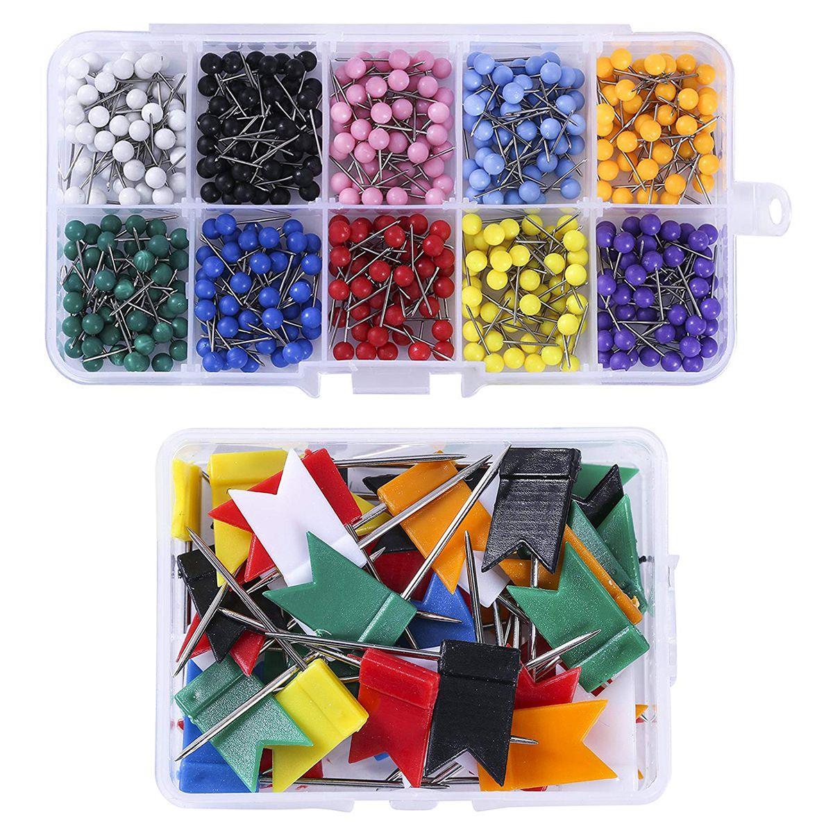 550 Pcs Colorful Map Push Pins Thumb Tacks,500Pcs Round Head Map Tacks,50 Pcs Flag Map Push Pins For Bulletin Board, Fabric Ma
