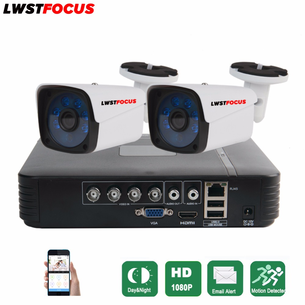 LWSTFOCUS 4CH CCTV System Full HD 1080P HDMI AHD CCTV DVR 2PCS 2.0 MP IR Outdoor Security Camera 3000TVL Camera Surveillance Kit