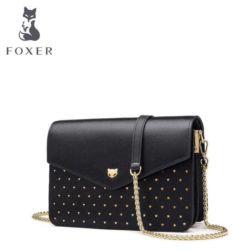 FOXER 2018 New Women leather bag designer famous brand leather women chanins bag Casual Cowhide fashion leather shoulder bag foxer 2017 new brand women leather bag fashion casual wild women leather handbags shoulder bag quality cowhide small bag
