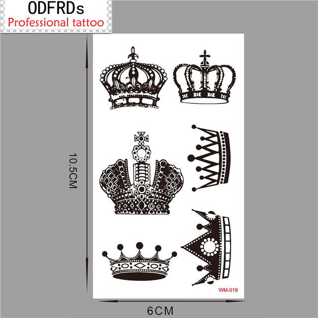 (Min Order $0.5) Temporary Tattoo For Man Woman Waterproof Stickers Makeup Maquiagem Make Up Crown Tattoo WM019