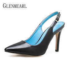 цена на Brand Women Shoes High Heels Woman Pumps Slingbacks Pointed Toe Female Party Shoes Summer Spring Sexy Snake Plus Size Sandals DE