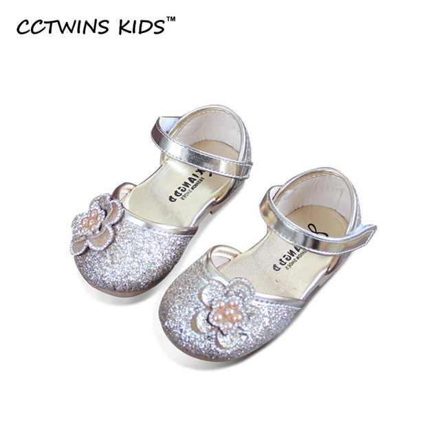 CCTWINS KIDS 2017 Spring Gold Flower Party Dance Children Baby Girl Pu Leather Toddler Kid Brand Black Shoe Strap Flat G1048