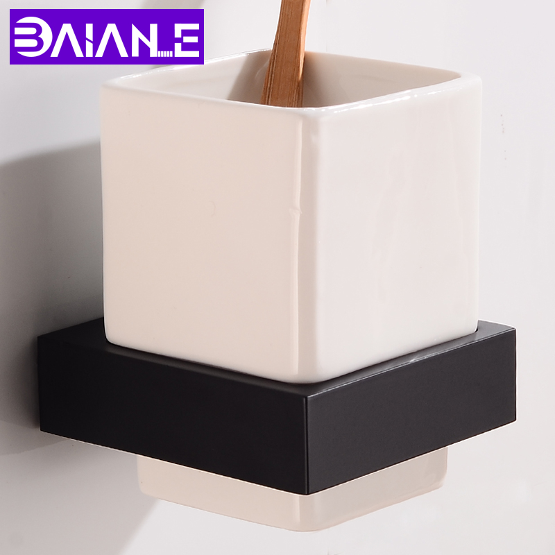 Toothbrush Holder Cup Tumbler Holder Bathroom Accessories Toothbrush Holder Set Wall Mounted Aluminum Bathroom Shelves Creative