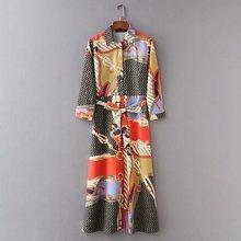 2019 Bohemian lapel print long section kimono color matching shirt national style new tie belt cardigan loose