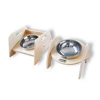 Hot Stainless Steel Anti skid Dog Cat Food Water Bowl Wooden Pet Feeding Tool Travel Dog Feeder Mascota Perro Pet Product