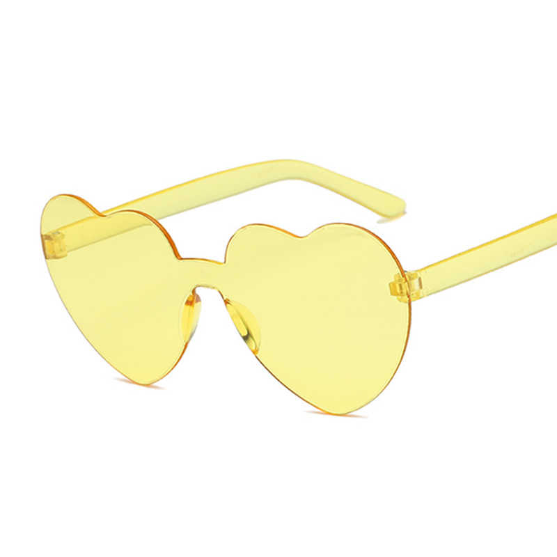 New Fashion Cute Seksi Retro Cinta Hati Tanpa Bingkai Kacamata Hitam Wanita Mewah Merek Desain Berjemur Kacamata Perempuan Kacamata Permen Warna
