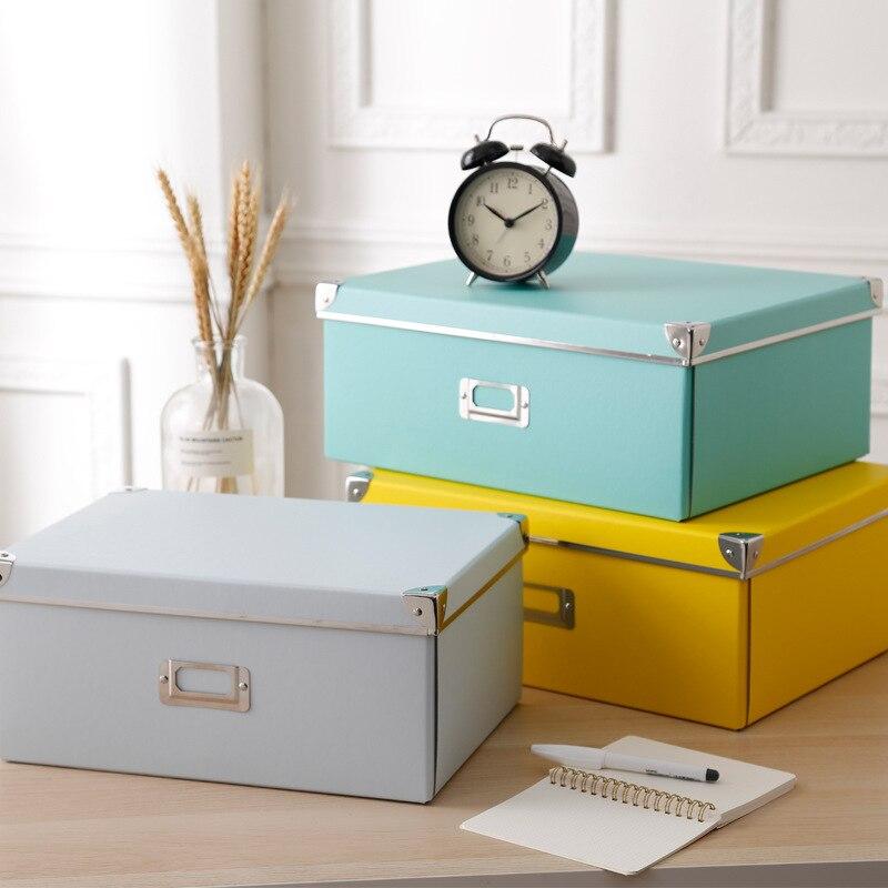 Neue Mode Hause Papier Lagerung Box Farbe Bedeckt Faltbare Büro Bücherregal Finishing Schlafzimmer Kleidung Schuhkarton Schublade Veranstalter