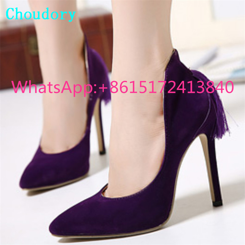 Choudory Slip-On Solid Super High Heel Dress Women Shoes New Fashion Shallow Pointed Toe Sexy Pumps Thin Heel Tassels Mary Janes