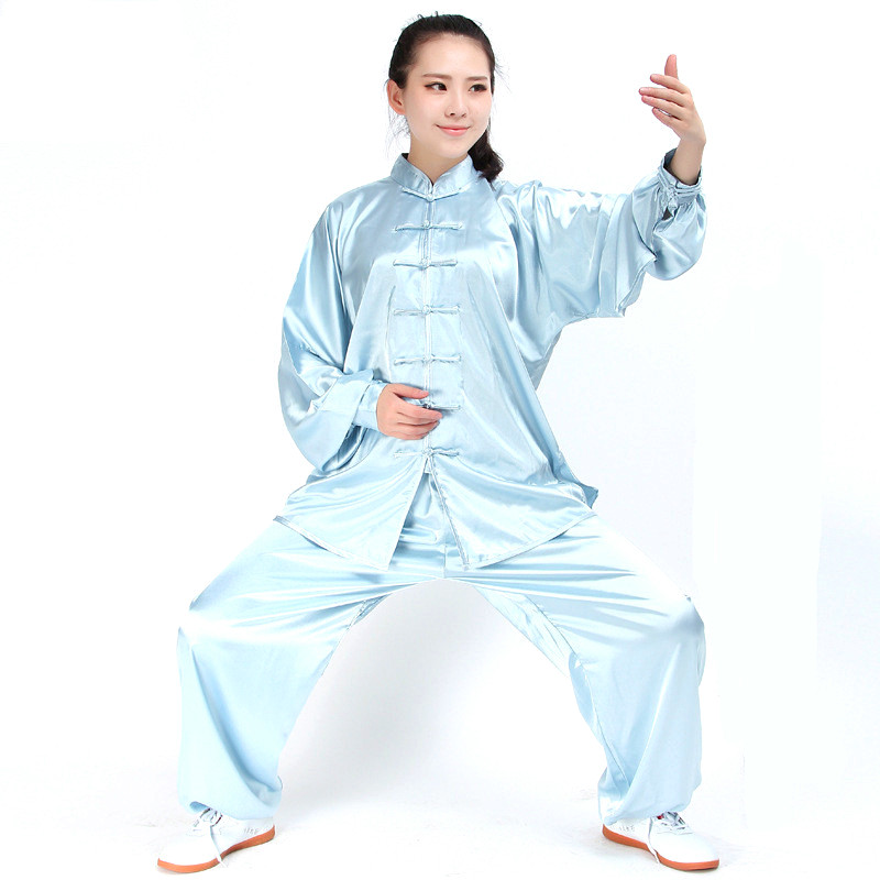 Традиционная южнокорейская ткань из искусственного шелка с длинными рукавами, костюм, китайская Униформа кунг-фу тай-чи, весна-осень, рубаш...