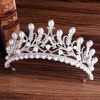 Crystal Pearl Tiara Rhinestone Wedding Hairband Gold Silver Plated Hair Jewelry Princess Crown Fashion Bridal Hair Accessories