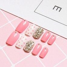 Glitter Fake Nails Light Pink White Cross Rhinestones Sliver Acrylic Nails 3D Decorated False Nails 24Pcs