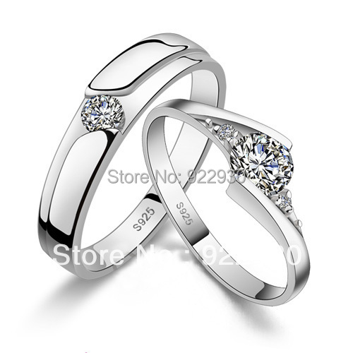 sterling silver jewelry Wedding Ring Couple Rings Zircon Round Austrian Crystal White Gold Silver rings fashion jewelry us size