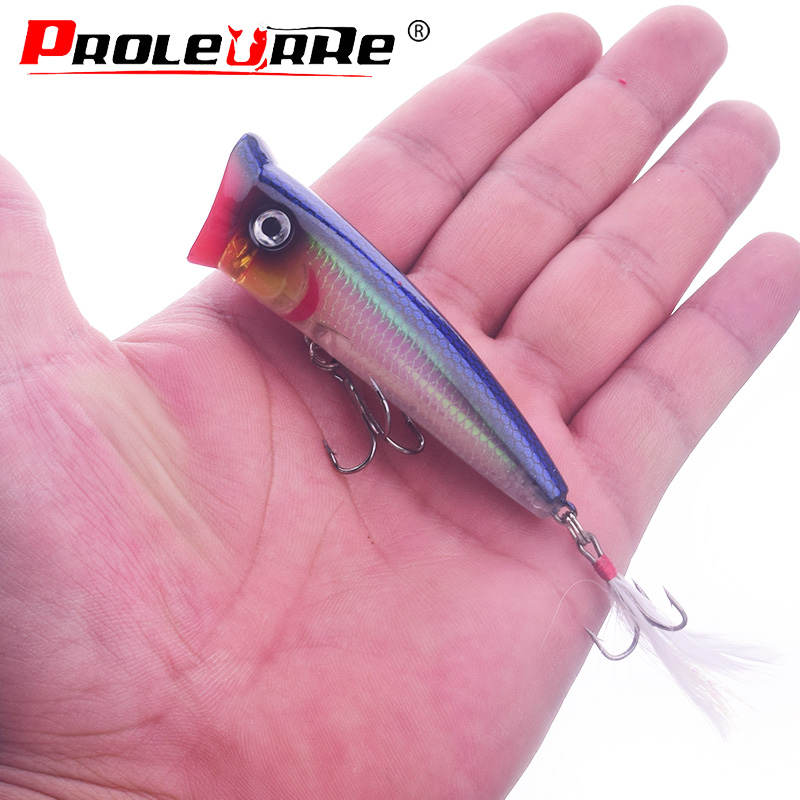 Proleurre Topwater Popper Fishing lure Wobbler Feather hooks Bait 7.8cm 10.5g crankbait artificial bait poper pesca carp pike