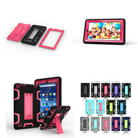 Kids Safe Armor Shockproof Heavy Duty Silicone PC Hybrid Tablet Stand Case Cover For Amazon kindle Fire 7 5th Generation 2015