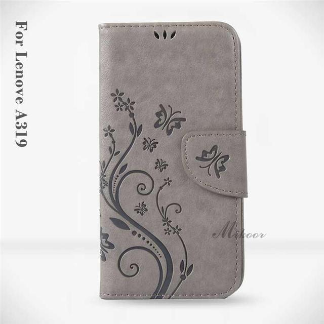 Mikoor Fashion Butterfly Wallet Leather 4.5For Lenovo A319 Case For Lenovo A319 Cell Phone Case Cover