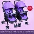 División celular de múltiples alta vista de doble carro de bebé cochecito de bebé cochecito de bebé gemelo dividida doble twins sentarse plana plegable