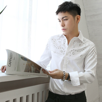 2018 Spring And Summer Style High Quality Shirt Men Long Sleeves Fixed Rivet Hot Bead Stitching