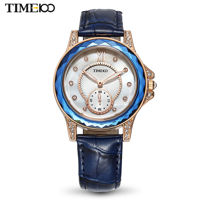 TIME100 new Women Watches Leather Strap Diamond Big Dial Waterproof Ladies Quartz Wrist Watch For Women Relogio Feminino XFCS new time a11