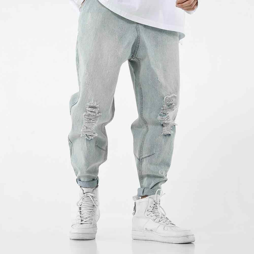 hip hop ripped jeans men hole loose harem pants jeans rotos hombre harajuku modis jeans homme streetwear trousers male