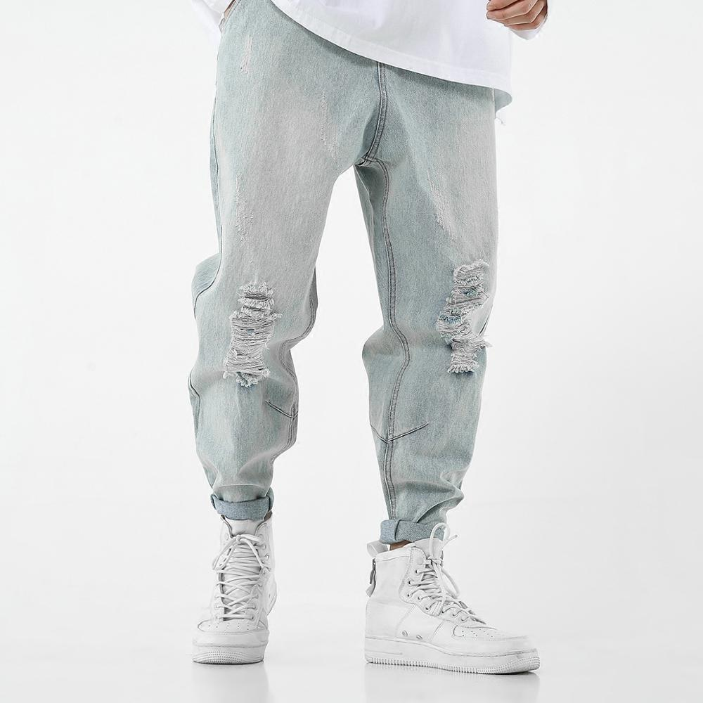 Hip Hop Ripped Jeans Men Hole Loose Harem Pants Jeans Rotos Hombre Harajuku Modis Jeans Homme Streetwear Trousers Male