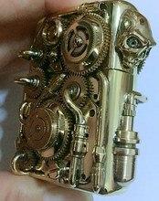 ZP brand LCZQPK Double-sided gear can run Skull head tube gear welding linkage brass Handmade steampunk lighter H01
