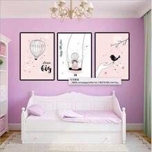 Красивая мультяшная Картина на холсте haochu с розовой девочкой