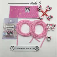 Mode mignon bande dessinée USB câble écouteur protecteur ensemble câble enrouleur autocollants spirale cordon protecteur pour iphone 4s 5 6 6s 7