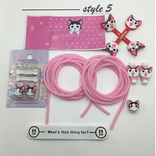 Fashion Cute Cartoon USB Cable Earphone Protector Set Winder Stickers Spiral Cord protector For iphone 4s 5 6 6s 7