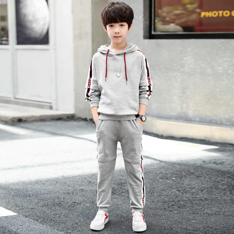 e015e1c4da New Big Boy Sweatshirt Pants Suit Korean Boy Fashion Tops Trousers  Two-piece Children's Clothing 5-12 Years