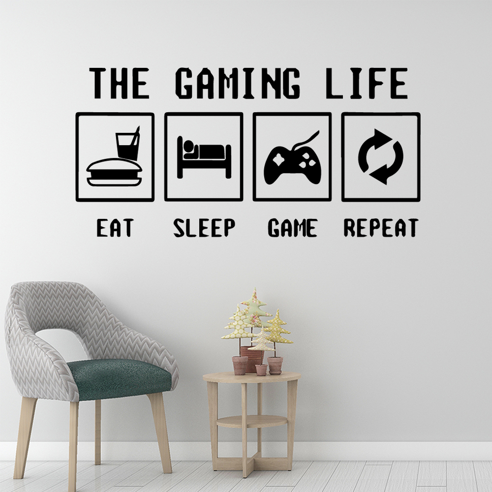 Carved Eat Sleep Game Wallpaper Home Decoration Wall Sticker Kids Room Nature Decor Removable Mural in Wall Stickers from Home Garden