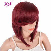 Deyngs Short Straight Synthetic Bob Wigs With Bangs For Black White Women Brazilian Hair Wig Natural Heat Resistant Hairstyle