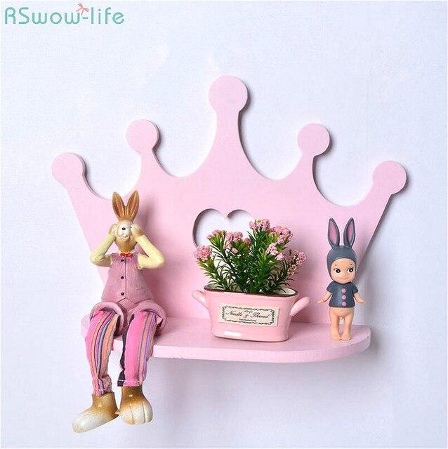 하트 핑크 크라운 스타일 나무 배치 프레임 홀더 욕실 스토리지 선반 벽 마운트 유형 랙 침실 물건 단일 레이어