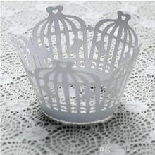 120pcs/lot Banquet Party Cake Cupcake Surrounding Edge Biscuit Packing Laser Cut Paper Wrapper Birdcage Design wc567