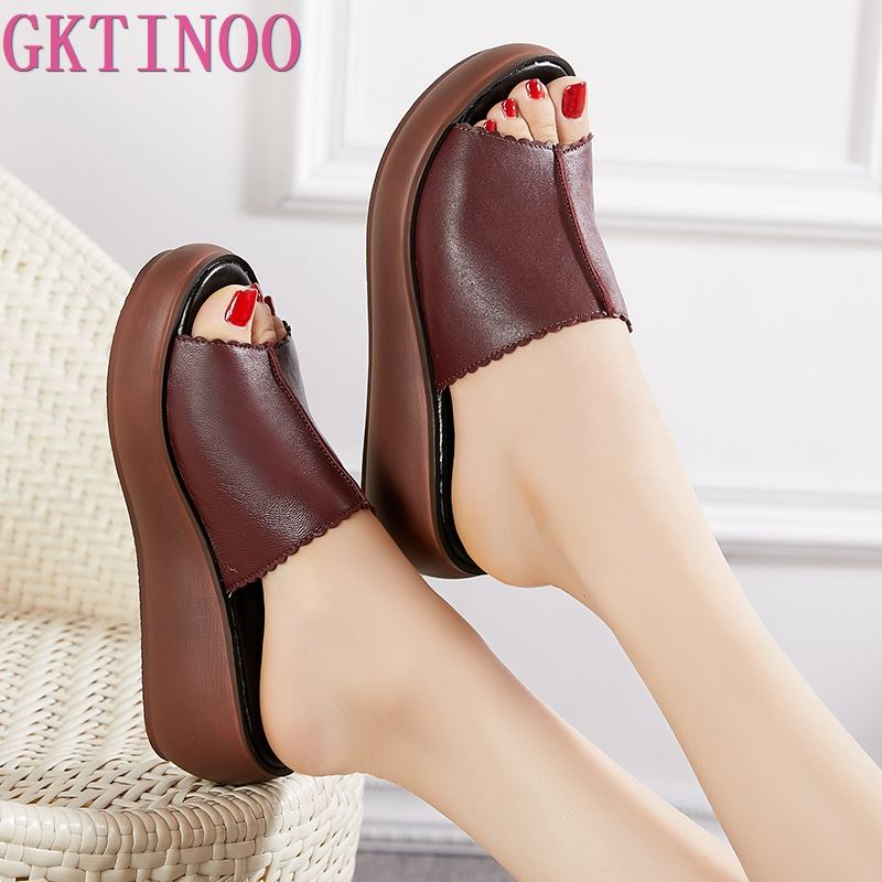 GKTINOO Women Slippers 2019 Ladies Summer Slippers Shoes Women Wedges Heels Fashion Summer Genuine Leather Shoes PlatformGKTINOO Women Slippers 2019 Ladies Summer Slippers Shoes Women Wedges Heels Fashion Summer Genuine Leather Shoes Platform