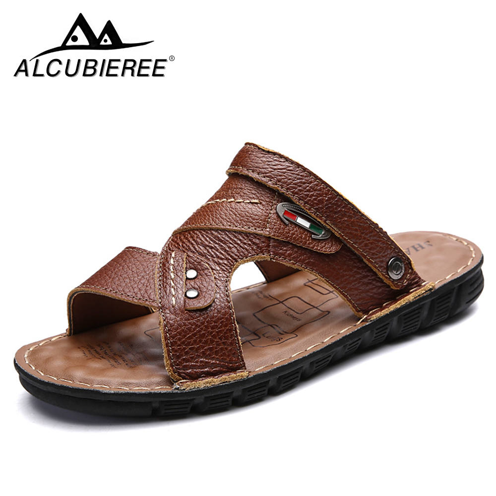 ALCUBIEREE Brand Casual Shoes Breathable Mens Leather Sandals Flip-flops Shoes Brand Classic Mens Beach Sandals for Men Summer