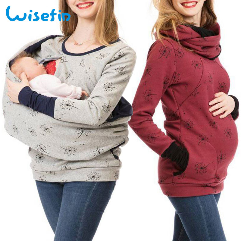 Wisefin Maternity Clothes For Women Dot Pregnancy Hooded Tops T-Shirt Winter Breastfeeding Nursing Pregnant Tee Shirt Autumn image