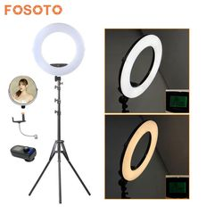 fosoto FE-480II Photographic Lighting 96W 480Led Bi-Color Dimmable Camera Phone Photography Ring Light Lamp&Remote Mirror&Tripod