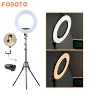 fosoto FE 480II Photographic Lighting 96W 480Led Bi Color Dimmable Camera Phone Photography Ring Light Lamp&Remote Mirror&Tripod