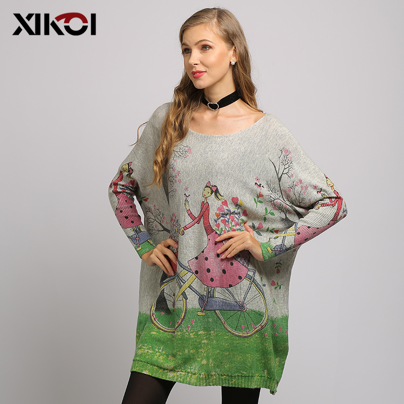 XIKOI Woman Sweater Oversized Long Batwing Sleeve Pullovers O-Neck Knitted Fashion Loose Female Casual Flower Girl Print Clothes