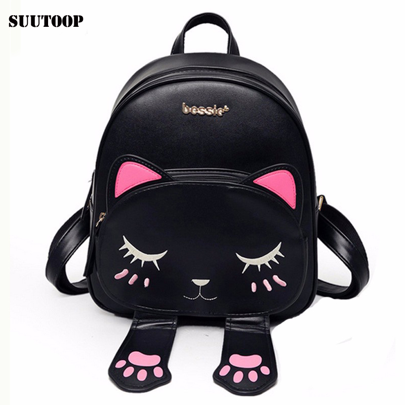 Cat bag Students school backpack for teenagers girls Back Pack School Backpacks Pu Leather Shoulder kitty Travel bags Mochila es