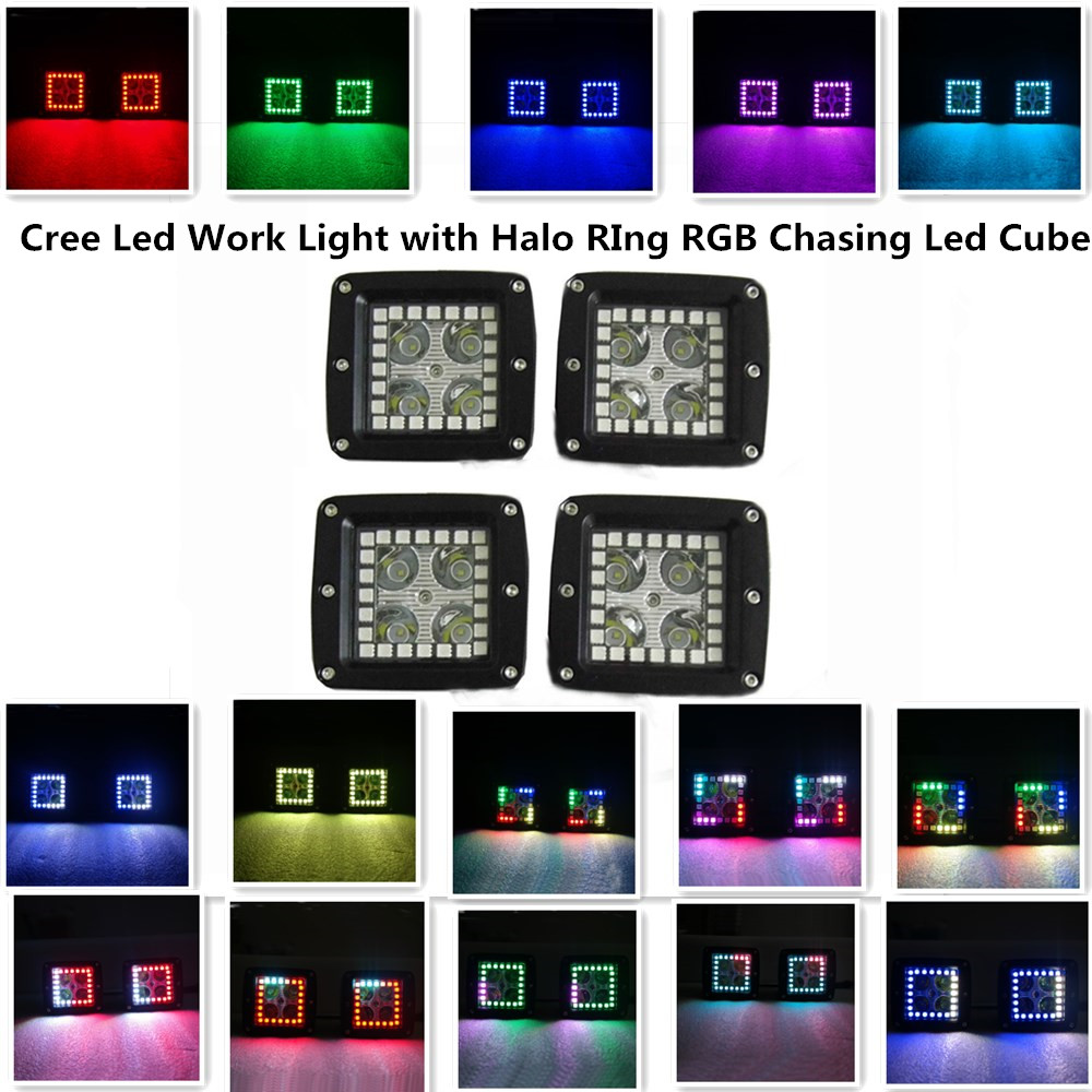 3.2 Inch CREE Led Pod with Halo Ring RGB Flow Pattens and 7 Solid Colors Changing Remote Control Off-road Work Light (Pack of 4)