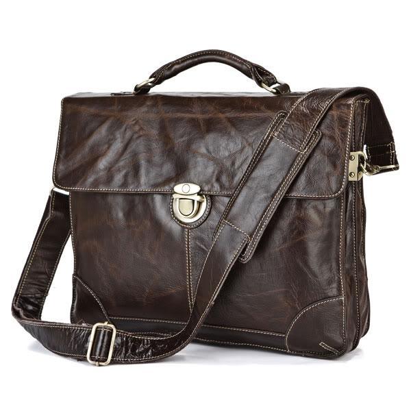 Quality Vintage Real Genuine Leather Bag Men Messenger Bags Cow Leather Portfolios Briefcase Business Men Travel