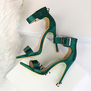 Image 5 - Plus Size 43 Women Classic Satin 11cm High Heels Fetish Silk Sandals Female Gladiator Summer Cheap Shoes Lady Green Sexy Pumps