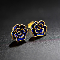 S925 silver bake blue craft gold lace small orchid ear studs