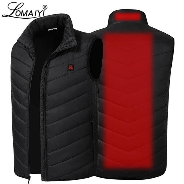 LOMAIYI USB isıtmalı yelek erkek kolsuz ceket erkek sıcak kendini ısıtma yelekler erkekler kış aşağı yastıklı yelek erkek siyah ceket AM356