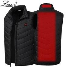 Lomaiyi usb aquecido colete sem mangas jaqueta masculina quente auto aquecimento coletes de inverno para baixo acolchoado colete masculino preto casaco am356