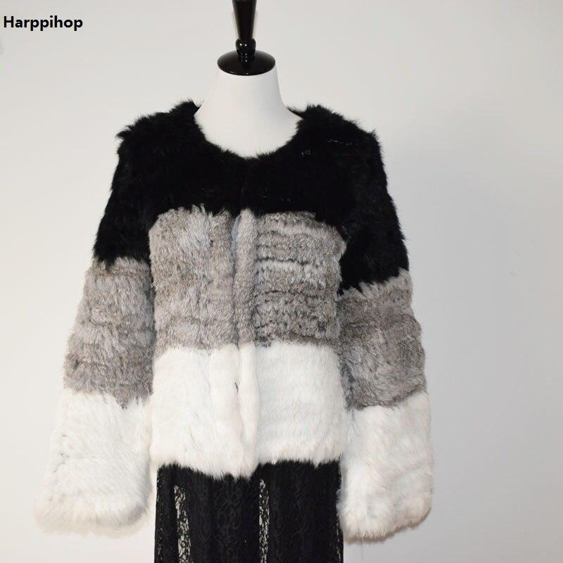 Tricot Lapin Col 100 En Véritable Épaisse Veste Cardigan De Naturel Vêtement Harppihop Irrégulière Noir Fourrure Manteaux Tricoté Manteau f0OxXOq